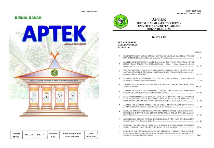 View Vol. 9 No. 1 (2017): JURNAL APTEK (APLIKASI TEKNOLOGI)