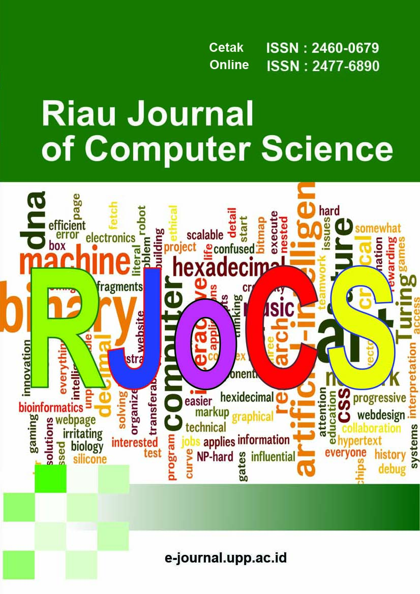 View Vol. 5 No. 1 (2019): Riau Journal of Computer Science