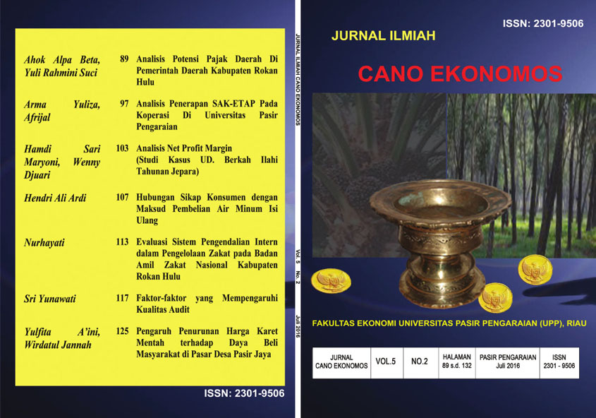 View Vol. 5 No. 2 (2016): Jurnal Cano Economos