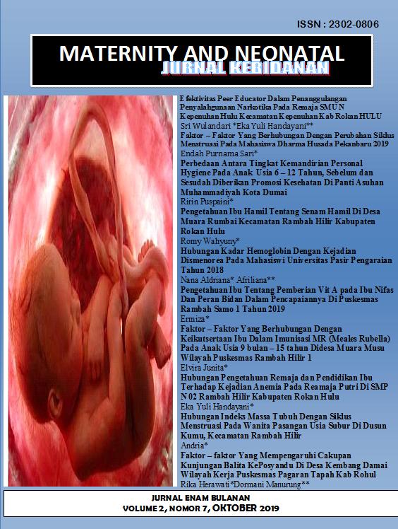 View Vol. 2 No. 7 (2019): Maternity and Neonatal